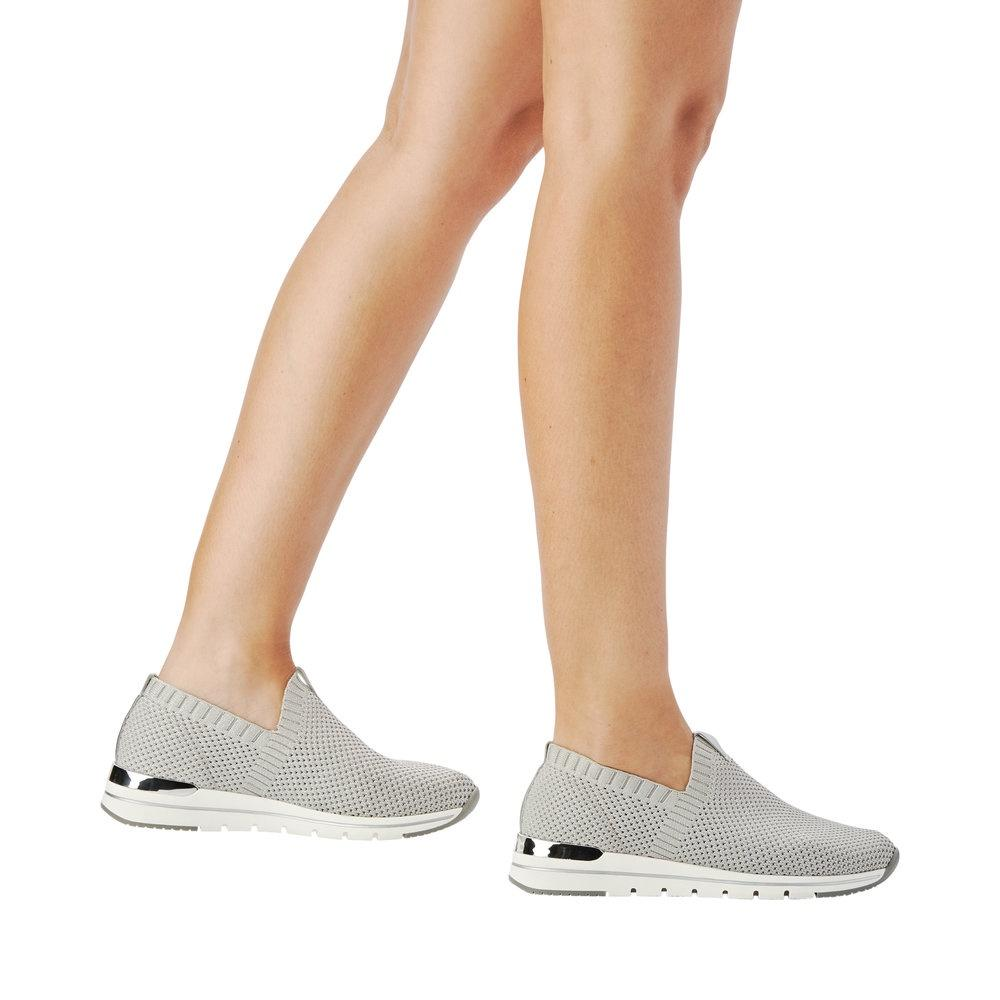 Textured Stretch Sneaker in Silver Grey Sneaker Remonte