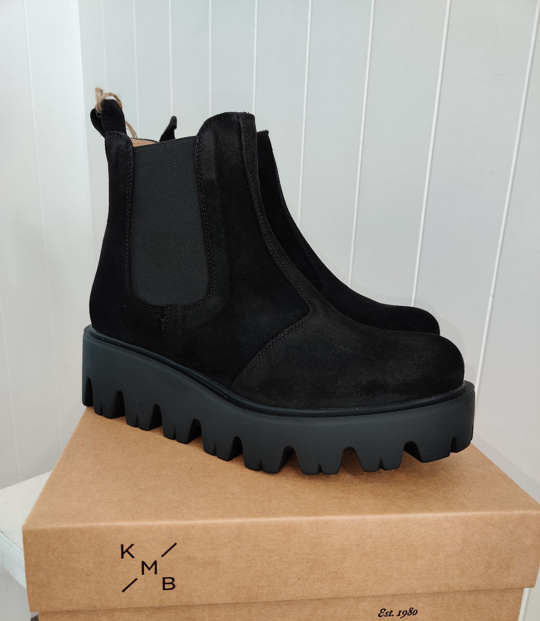 Tractor Sole Platform Boot in Black Suede - Renaissance Boutiques Ireland