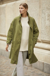 Trixi Oversize Cotton Coat in Capulet Olive Coat Masai