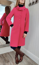 Load image into Gallery viewer, Wool and Cashmere Cowl Collar Coat in Fuschia - Renaissance Boutiques Ireland