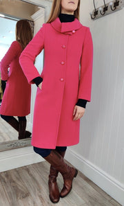 Wool and Cashmere Cowl Collar Coat in Fuschia - Renaissance Boutiques Ireland