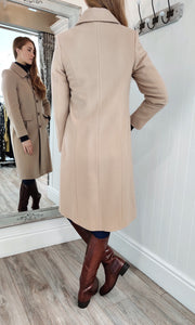 Wool and Cashmere Rich Tailored Coat in Camel - Renaissance Boutiques Ireland