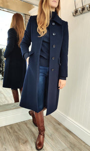 Wool and Cashmere Rich Tailored Coat in Navy - Renaissance Boutiques Ireland