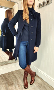 Wool and Cashmere Rose Brooch Coat in Navy - Renaissance Boutiques Ireland