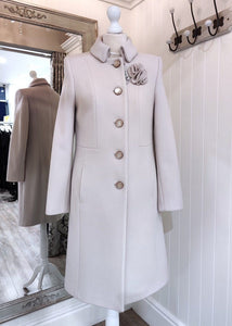 Wool and Cashmere Rose Brooch Coat in Oyster - Renaissance Boutiques Ireland