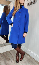 Load image into Gallery viewer, Wool and Cashmere Rose Brooch Coat in Royal Blue - Renaissance Boutiques Ireland