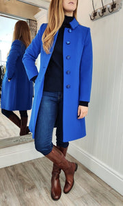 Wool and Cashmere Rose Brooch Coat in Royal Blue - Renaissance Boutiques Ireland