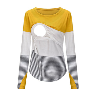 Round Collar Long Sleeve Nursing Tops