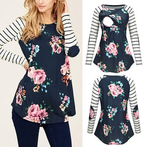Round Collar Long Sleeve Floral Striped Nursing Top