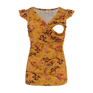 V-Neck Printed Short sleeve Nursing Top