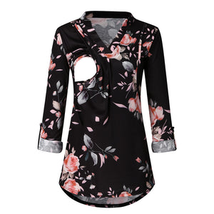 Autumn Flower V Neck Nursing Top