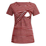 Round Collar Striped Half Sleeves Nursing Top