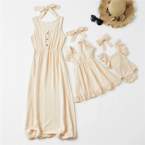 Mother & Daughter Long Sleeveless Matching Dress
