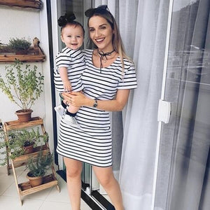 Mother & Kid Striped Matching Dress