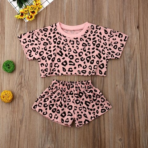 Leopard Cropped Top Set