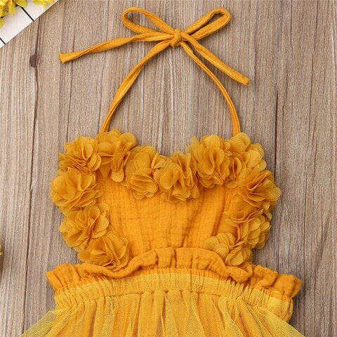 Yellow Backless Babygirl Dress