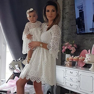 Mother & Daughter Floral Lace Matching Outfits