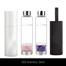 Load image into Gallery viewer, Elix Bottle - Crystal Infused Water Bottle - Pebble Style with Stainless Steel Base - Elix Bottle