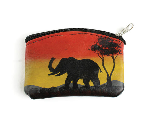 Leather African Coin Purse: Elephant