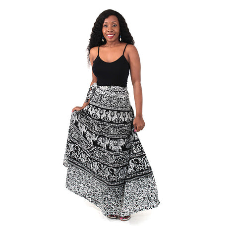 Animal Wrap Skirt: Black & White