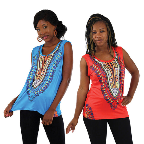 Traditional Print Stretch Tank Top