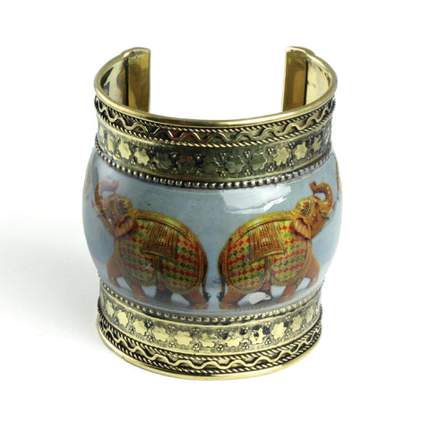Brass Cuff: Trumpeting Elephant