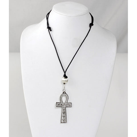 "Silver Ankh Necklace: Large (3"")"