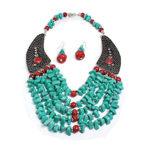 Beaded Turquoise Winged Necklace Set