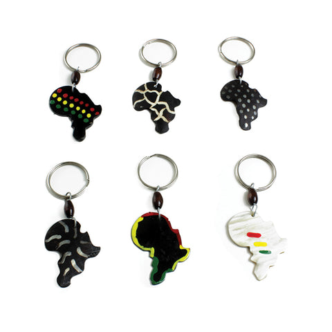 Set Of 6 Bone Africa Design Key Chains