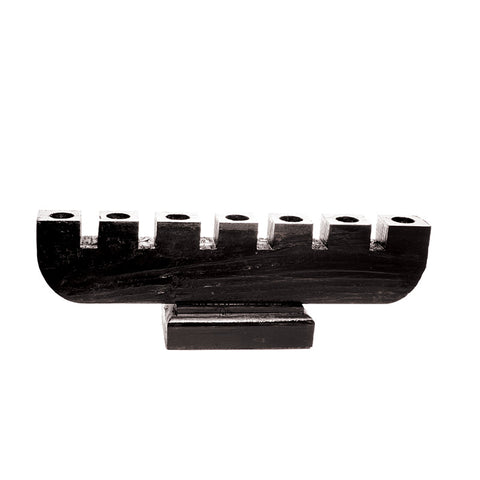 Handmade Large Wooden Kinara - Black