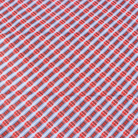 Red/Blue Tweed Print Fabric
