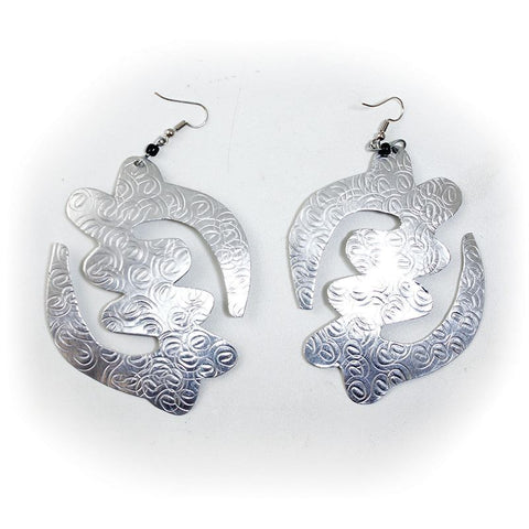 Over-Sized Silver Earrings: Gye Nyame