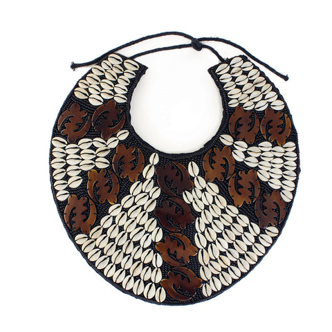 Gye Nyame Breastplate Necklace: Brown
