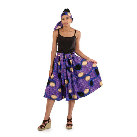 African Print Elastic Skirt: Purple