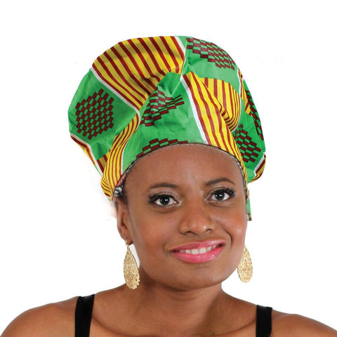 Nefertiti Crown: Green/Yellow Kente