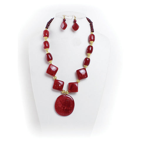 Ruby Red Stone Necklace & Earrings