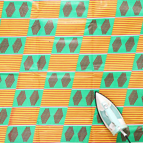 Economy Fabric: Grn/Yel Kente - 12 Yards