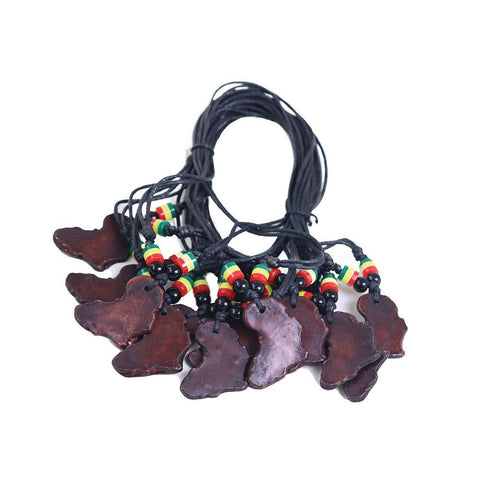 Set Of 12 Africa Map Clay Necklaces