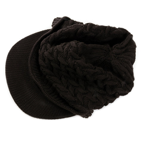 Knit Visor Cap - Dark Brown