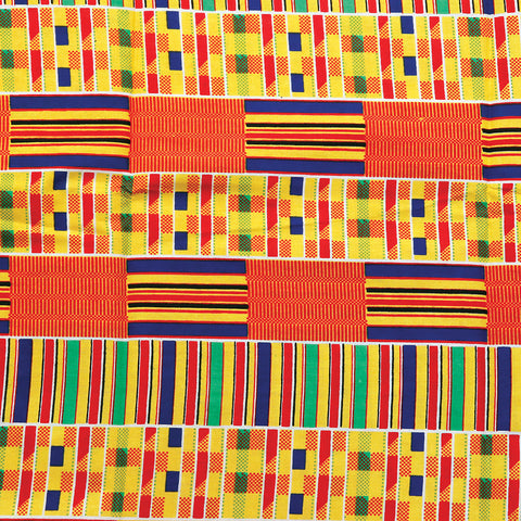 African Kente Print Fabric #1 - 6 Yards