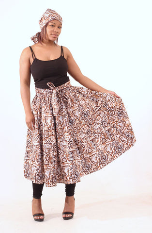Brown Adinkra Print Skirt