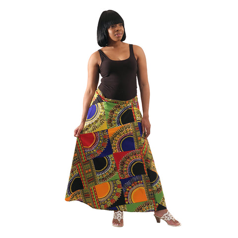 Trad Patch Print Wrap Skirt