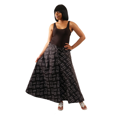 Black Mud Print Wrap Skirt