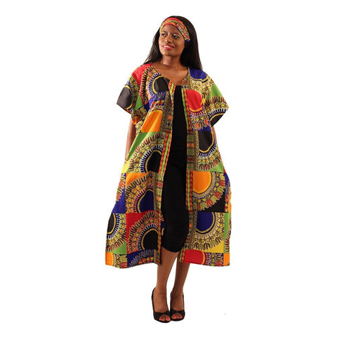Trad Patch Print Open Kaftan