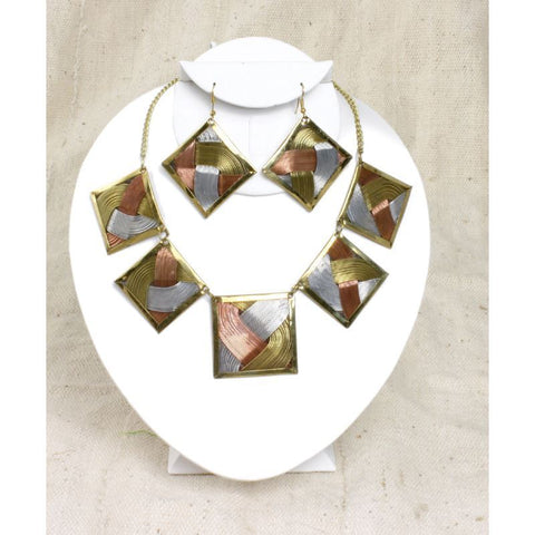 Brass Tri-Metal Necklace & Earring Set