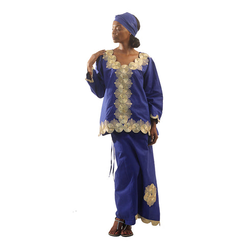 Golden Goddess Skirt Set: Blue