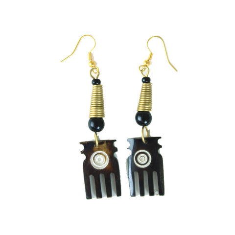 Brown Bone Comb Earrings