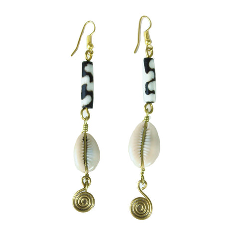 Bone-Cowrie-Brass Earrings