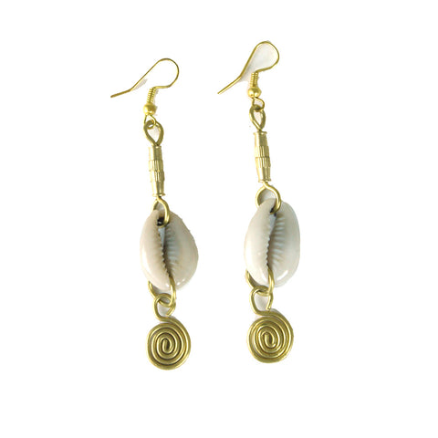Cowrie Shell & Brass Earrings