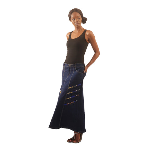 Blue Denim Long Skirt